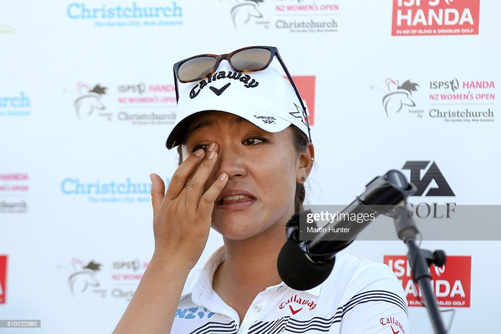 <a gi-track='captionPersonalityLinkClicked' href=/galleries/search?phrase=Lydia+Ko&family=editorial&specificpeople=5817103 ng-click='$event.stopPropagation()'>Lydia Ko</a> of New Zealand wipes away tears after winning the New Zealand Women's Golf Open at Clearwater Golf Club on February 14, 2016 in Christchurch, New Zealand.