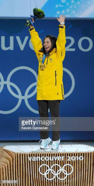 Lydia Lassila of Australia celebrates receiving the gold medal during the medal ceremony for the ladies' aerials freestyle skiing on day 14 of the...