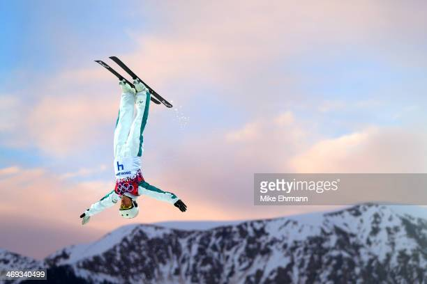 Lydia Lassila of Australia competes in the Freestyle Skiing Ladies' Aerials Qualification on day seven of the Sochi 2014 Winter Olympics at Rosa...