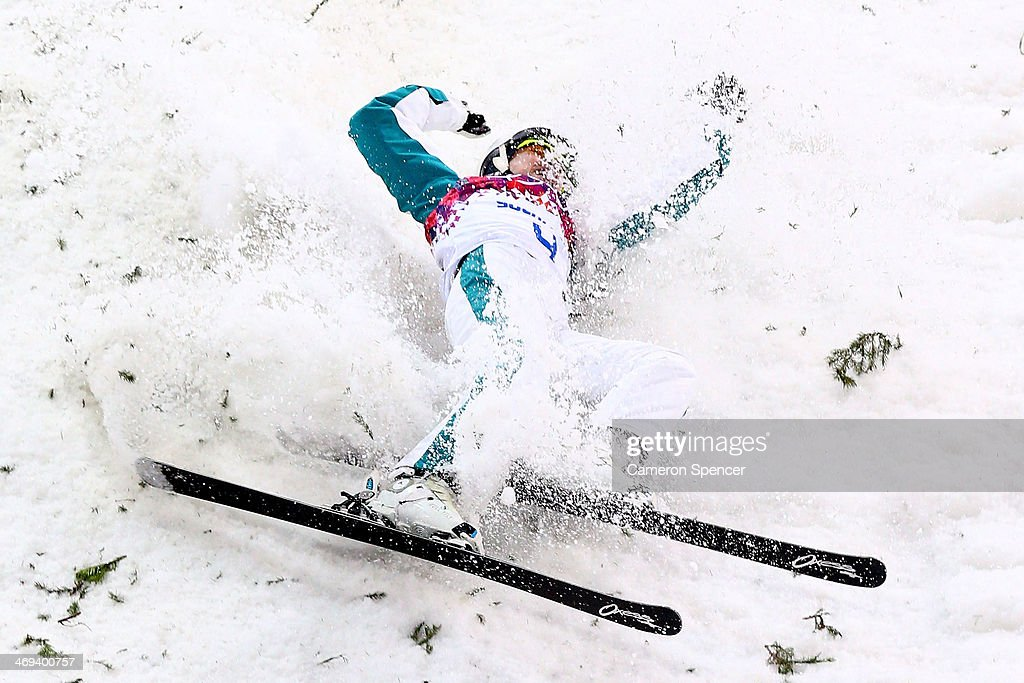 Lydia Lassila of Australia falls over in the Freestyle Skiing Ladies' Aerials Finals on day seven of the Sochi 2014 Winter Olympics at Rosa Khutor Extreme Park on February 14, 2014 in Sochi, Russia.