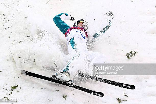 Lydia Lassila of Australia falls over in the Freestyle Skiing Ladies' Aerials Finals on day seven of the Sochi 2014 Winter Olympics at Rosa Khutor...
