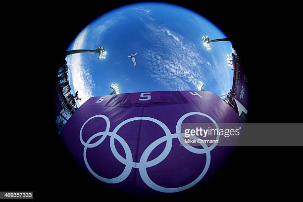 Lydia Lassila of Australia practices before the Freestyle Skiing Ladies' Aerials Qualification on day seven of the Sochi 2014 Winter Olympics at Rosa...