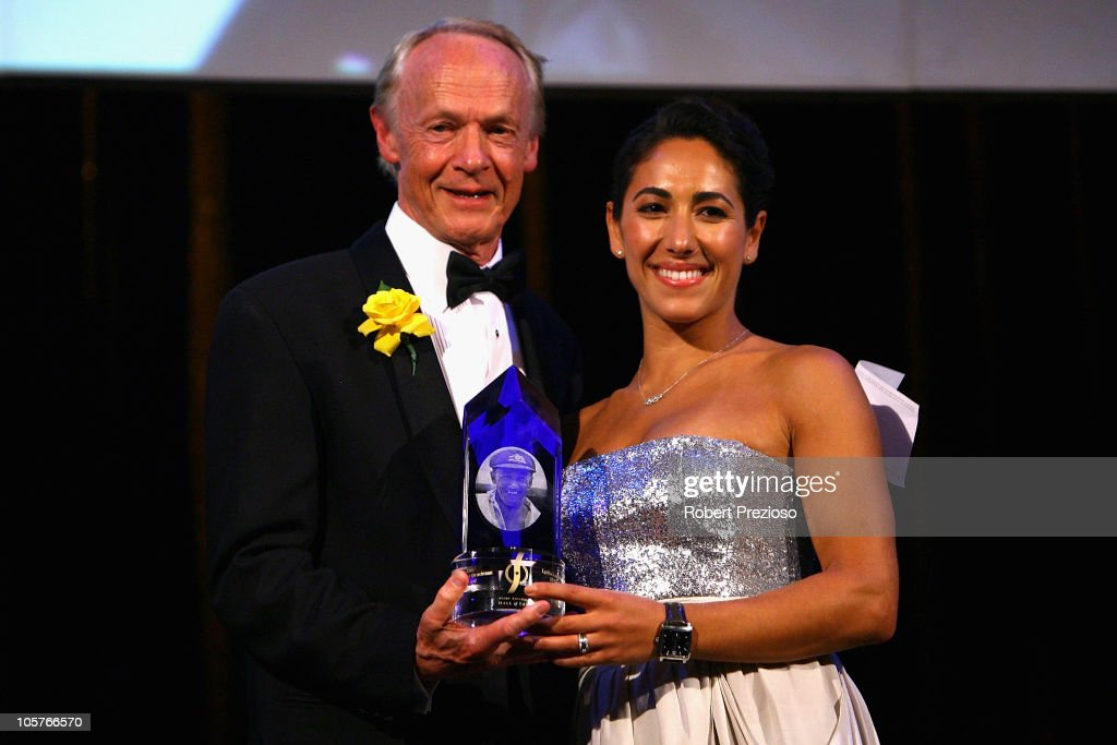Lydia Lassila receives the Don Award presented by John Bradman during receives the spirit of Sport award during the Sport Australia Hall of Fame at Crown Casino on October 20, 2010 in Melbourne, Australia.