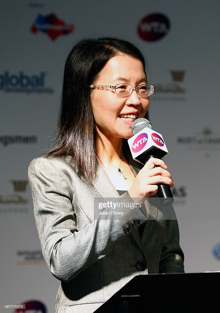 Lydia Long Vice Mayor of Zhuhai talks at the press conference for the WTA Elite Trophy in Zhuhai starting 2015 during day four of the BNP Paribas WTA...