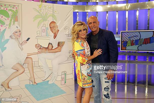 Lydia Lozano and Kiko Matamoros attend the presentation of 'Salvame' portraits by Javier Mariscal at Tele 5 Studios on October 3 2016 in Madrid Spain