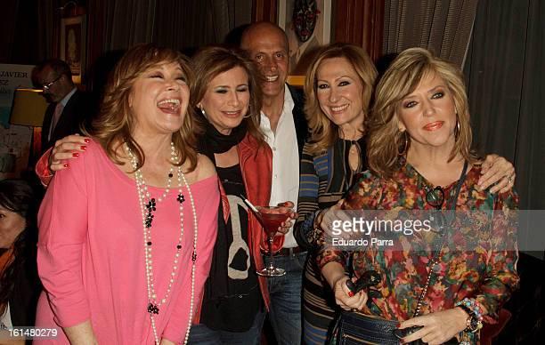Lydia Lozano Mila Ximenez Kiko Matamoros and friends attend Jorge Javier Vazquez's Golden Book party at Gran Melia Fenix hotel on February 11 2013 in...