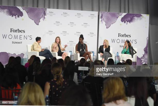 Lydia Polgreen Suzanne Kounkel Bozoma Saint John Gwynne Shotwell and Elaine Welteroth seen on stage during the 2017 Forbes Women's Summit at Spring...