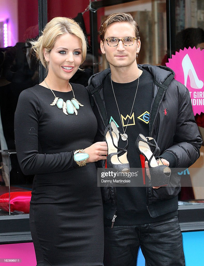 <a gi-track='captionPersonalityLinkClicked' href=/galleries/search?phrase=Lydia+Rose+Bright+-+Television+Personality&family=editorial&specificpeople=7629456 ng-click='$event.stopPropagation()'>Lydia Rose Bright</a> and Oliver Proudlock attend a photocall as girls compete to win a pair of Christian Louboutin shoes on March 1, 2013 in London, England.