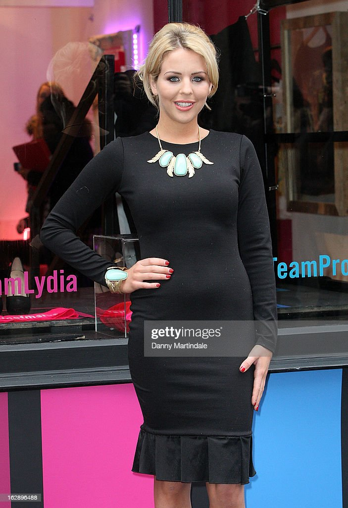 Lydia Rose Bright attends a photocall as girls compete to win a pair of Christian Louboutin shoes on March 1, 2013 in London, England.