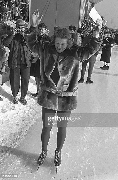Lydia Skoblikova from the Soviet Union acknowledges the cheers of the crowd 30 January 1964 in Innsbruck after winning the 500m speed skating...
