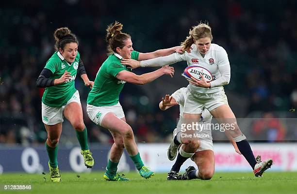 Lydia Thompson of England on the attack during the Womens Six Nations match between England Women and Ireland Women at Twickenham Stadium on February...