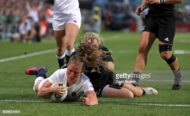 Lydia Thompson of England scores her team's second try of the game during the Women's Rugby World Cup 2017 Final between England and New Zealand on...