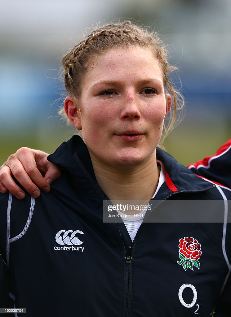 Lydia Thompson of England Women lines up for the anthem during the Womens Six Nations match between England and Scotland at Esher RFC on February 2, 2013 in Esher, England.