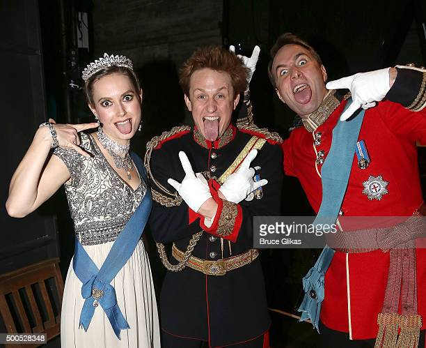 Lydia Wilson as 'Kate Middleton' Richard Goulding as 'Prince Harry' and Oliver Chris as 'Prince William' who play the royal family in 'King Charles...
