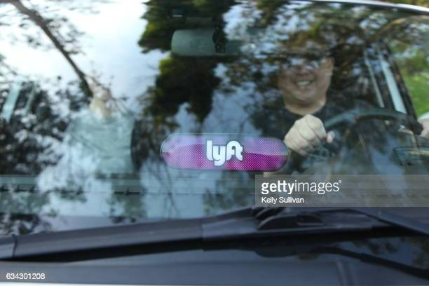 Lyft Amp with driver and passenger on January 31 2017 in San Francisco California