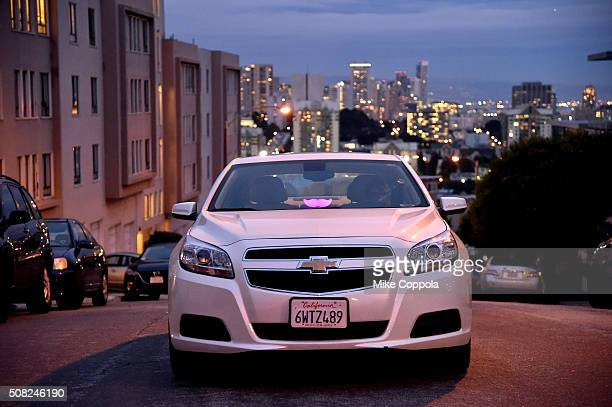 Lyft driver is waiting for a ride in the city on February 3 2016 in San Francisco California