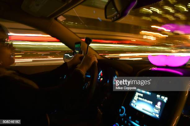 Lyft passengers and drivers in a Lyft ride on February 3 2016 in San Francisco California