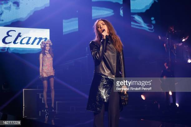 Lykke Li performs during the Etam Live Show Lingerie at Bourse du Commerce on February 26 2013 in Paris France