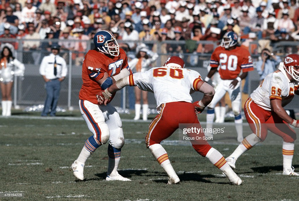 <a gi-track='captionPersonalityLinkClicked' href=/galleries/search?phrase=Lyle+Alzado&family=editorial&specificpeople=544733 ng-click='$event.stopPropagation()'>Lyle Alzado</a> #77 of the Denver Broncos in action against Matt Herkenhoff #60 of the Kansas City Chiefs during an NFL Football game December 10, 1978 at Mile High Stadium in Denver, Colorado. Alzado played for Broncos from 1971-78.
