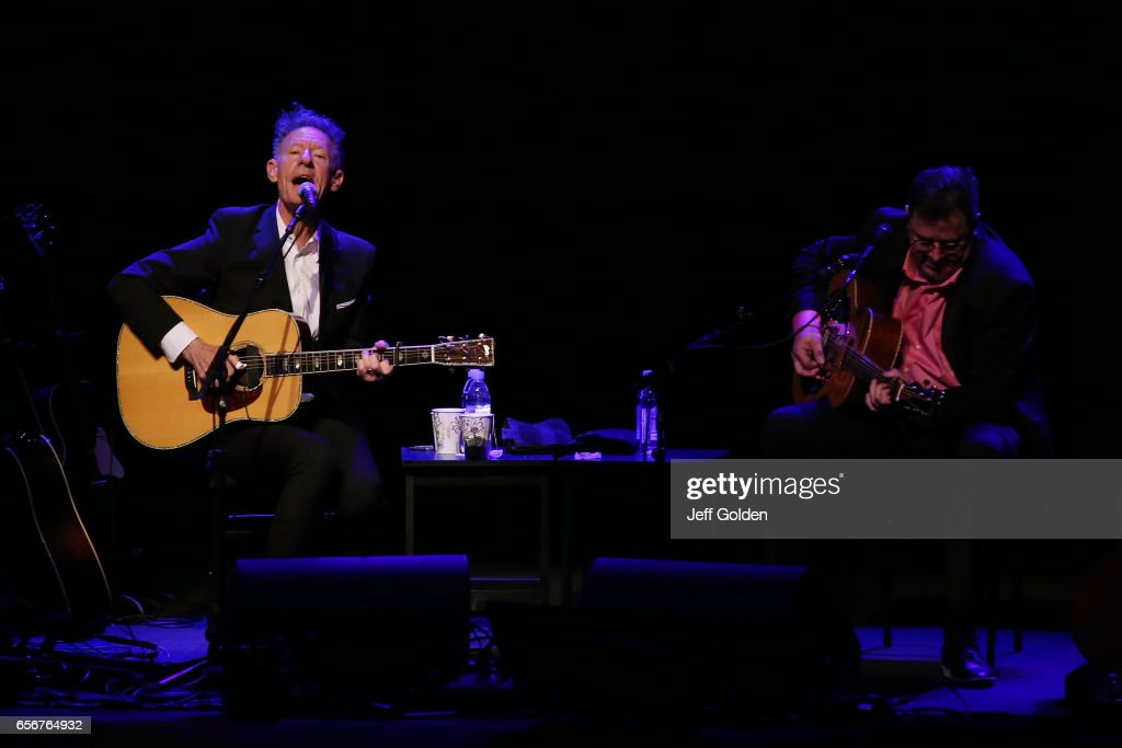 Lyle Lovett (L) and Vince Gill perform in support of their 'Songs and Stories Tour' at Fred Kavli Theatre on March 22, 2017 in Thousand Oaks, California.