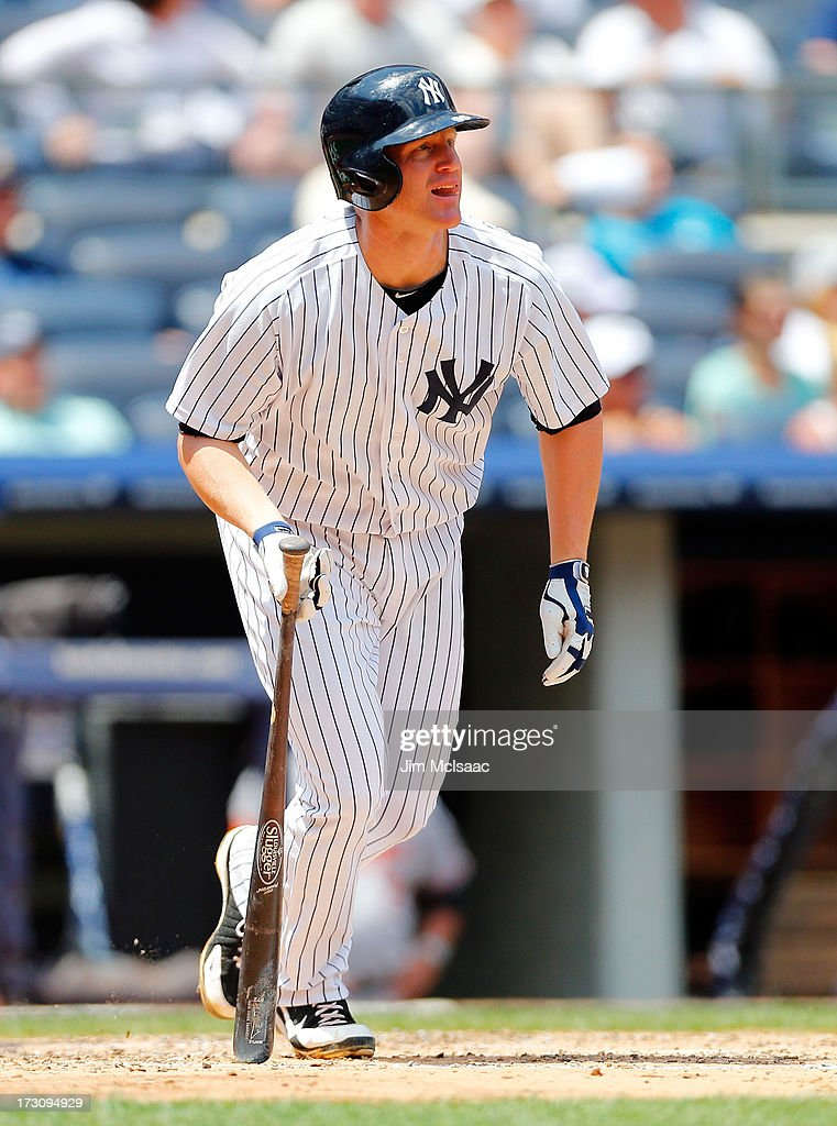 <a gi-track='captionPersonalityLinkClicked' href=/galleries/search?phrase=Lyle+Overbay&family=editorial&specificpeople=214072 ng-click='$event.stopPropagation()'>Lyle Overbay</a> #55 of the New York Yankees follows through on a second inning base hit against the Baltimore Orioles at Yankee Stadium on July 6, 2013 in the Bronx borough of New York City. The Yankees defeated the Orioles 5-4.