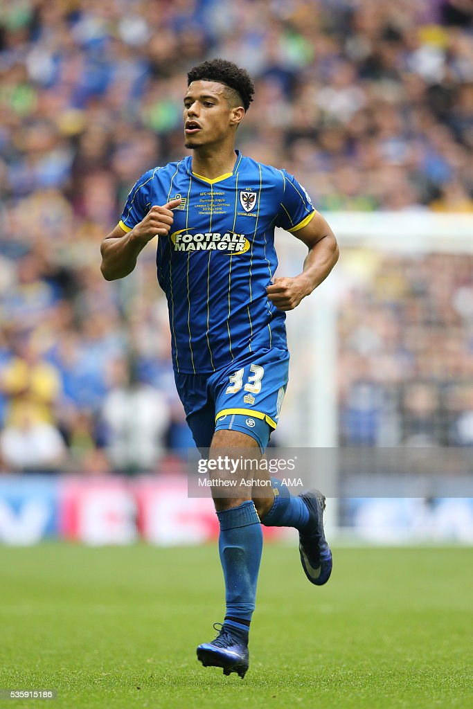 Lyle Taylor of AFC Wimbledon during the Sky Bet League Two Play Off Final between Plymouth Argyle and AFC Wimbledon at Wembley Stadium on May 30, 2016 in London, England.