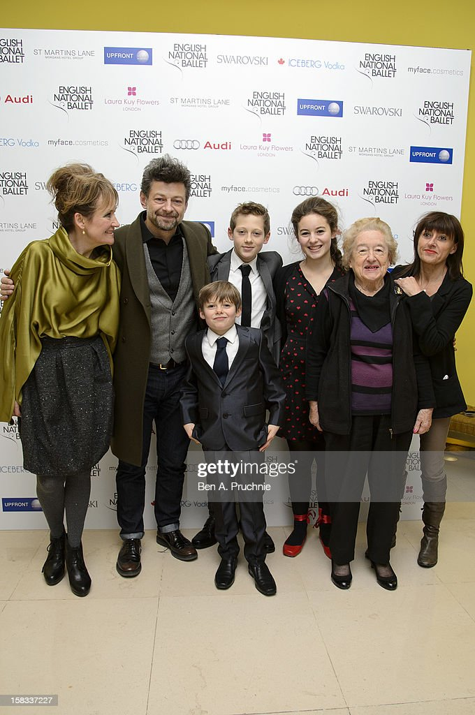 Lylie Serkis, Andy Serkis, Lorraine Ashbourne, Jo Hartley and Louis Serkis attends the English National Ballets Christmas Party at St Martins Lane Hotel on December 13, 2012 in London, England.