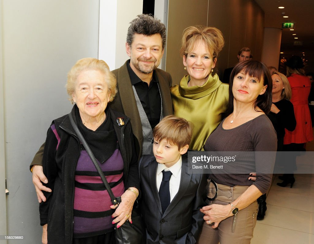Lylie Serkis, Andy Serkis, wife Lorraine Ashbourne, actress Jo Hartley and Louis Serkis (front) attend the English National Ballet Christmas Party at St Martins Lane Hotel on December 13, 2012 in London, England.