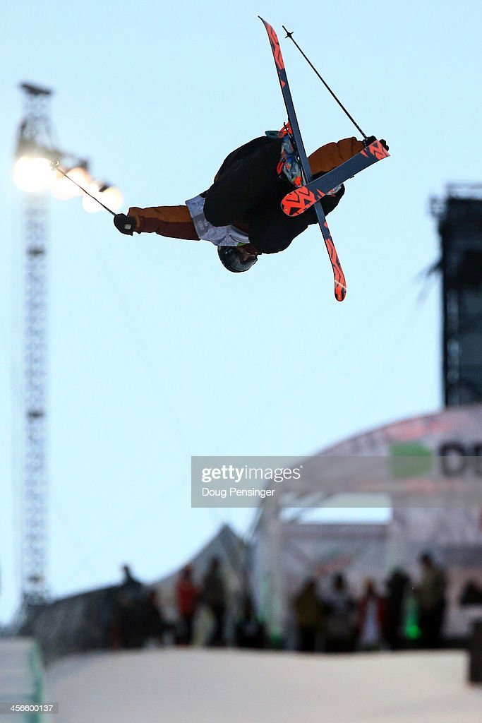 Lyman Currier skis to third place in the men's ski superpipe final at the Dew Tour iON Mountain Championships on December 14, 2013 in Breckenridge, Colorado.