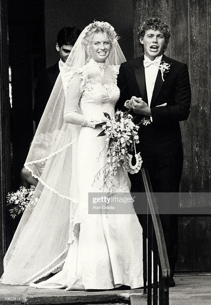 Lyn Barron and Christopher Atkins during Christopher Atkins and Lyn Barron's Wedding May 25 1985 at Rye Presbyterian Church in Rye New York United...