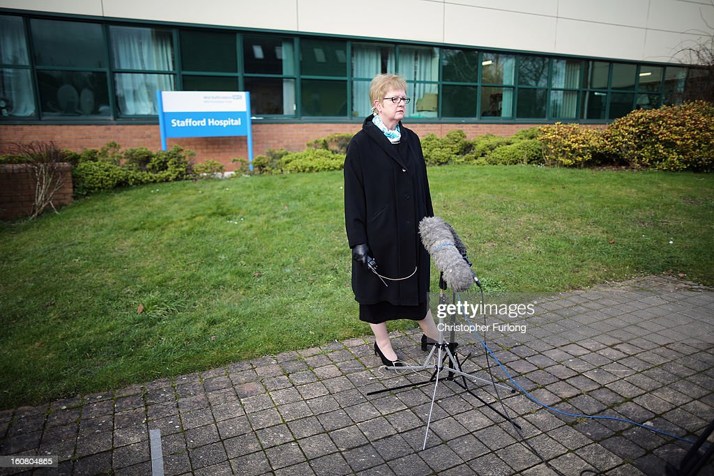 Lyn Hill-Tout the new chief executive of Mid Staffordshire Hospital Trust speaks to the media on the day that Robert Francis QC Publishes his inquiry into Stafford Hospital on February 6, 2013 in Stafford, United Kingdom. The report examined the commissioning, supervisory and regulatory bodies in the monitoring of Mid Staffordshire hospital between January 2005 and March 2009. The report made 290 recommendations to make patient care paramount and that NHS staff should face prosecution if they are not open and honest about mistakes.