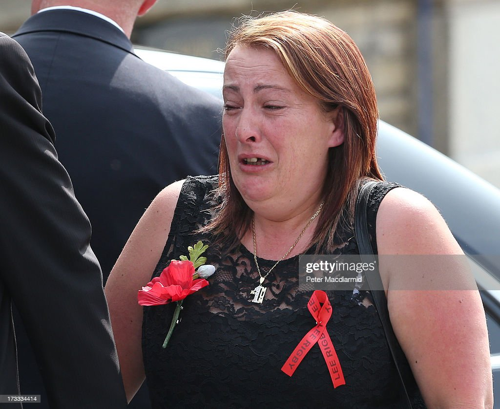 Lyn Rigby arrives for the funeral of her son Fusilier Lee Rigby at Bury Parish Church on July 12 2013 in Bury Greater Manchester England The Royal...