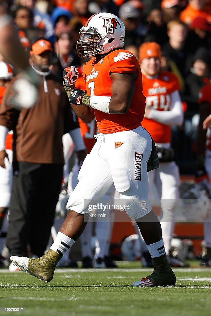 J Lynch of the Bowling Green Falcons reacts after making a play during the game against the Kent State Golden Flashes on November 17 2012 at Doyt...