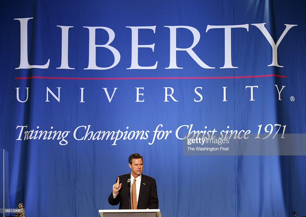 Lynchburg VA Jerry Falwell Jr president and chancellor of Liberty University introduces the convocation speaker in the Vines Center Wednesday Feb 13...