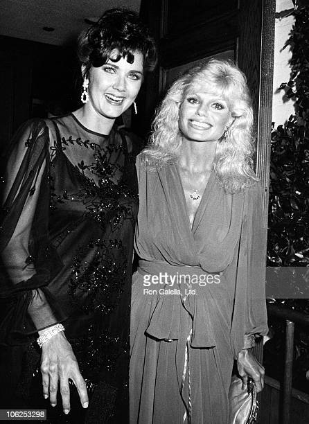 Lynda Carter and Loni Anderson during Lynda Carter Sighting at Chasen's Restaurant September 15 1983 at Chasen's Restaurant in Beverly Hills...