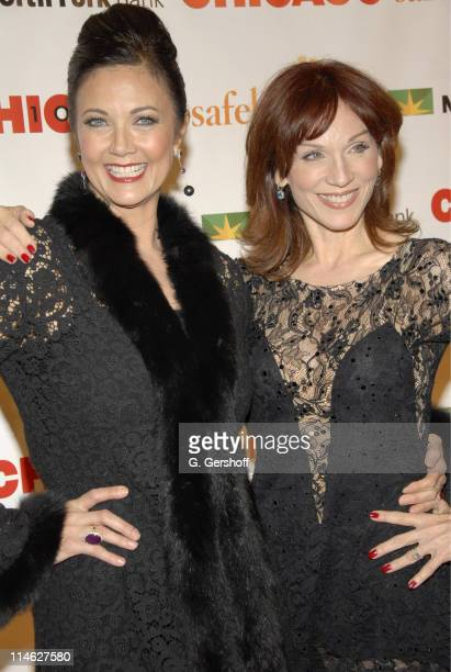 Lynda Carter and Marilu Henner during Chicago the Musical Celebrates its 10th Anniversary on Broadway Arrivals at Ambassador Theater in New York City...