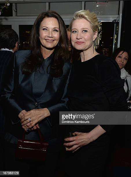 Lynda Carter and Trine Dyrholm attend The Cinema Society Disaronno screening of Sony Pictures Classics' 'Love Is All You Need' after party at The...