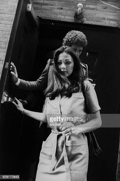 Lynda Carter leaving by the stage door circa 1970 New York
