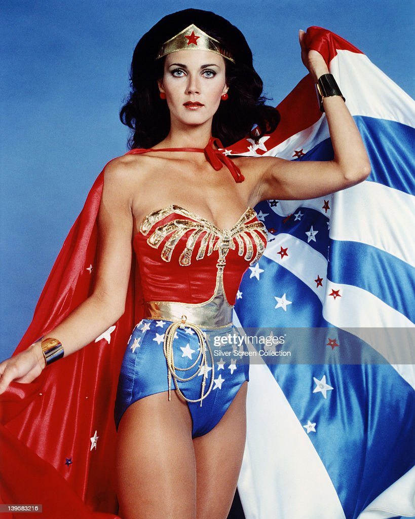 <a gi-track='captionPersonalityLinkClicked' href=/galleries/search?phrase=Lynda+Carter&family=editorial&specificpeople=215112 ng-click='$event.stopPropagation()'>Lynda Carter</a>, US actress, in costume in a studio portrait issued as publicity for the US television series, 'Wonder Woman', USA, circa 1977. The television series, based on the DC Comics character, starred Carter as 'Wonder Woman'.