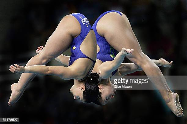 Lynda Folauhola and Loudy Tourky of Australia compete in the women's synchronised diving 10 metre platform event on August 16 2004 during the Athens...