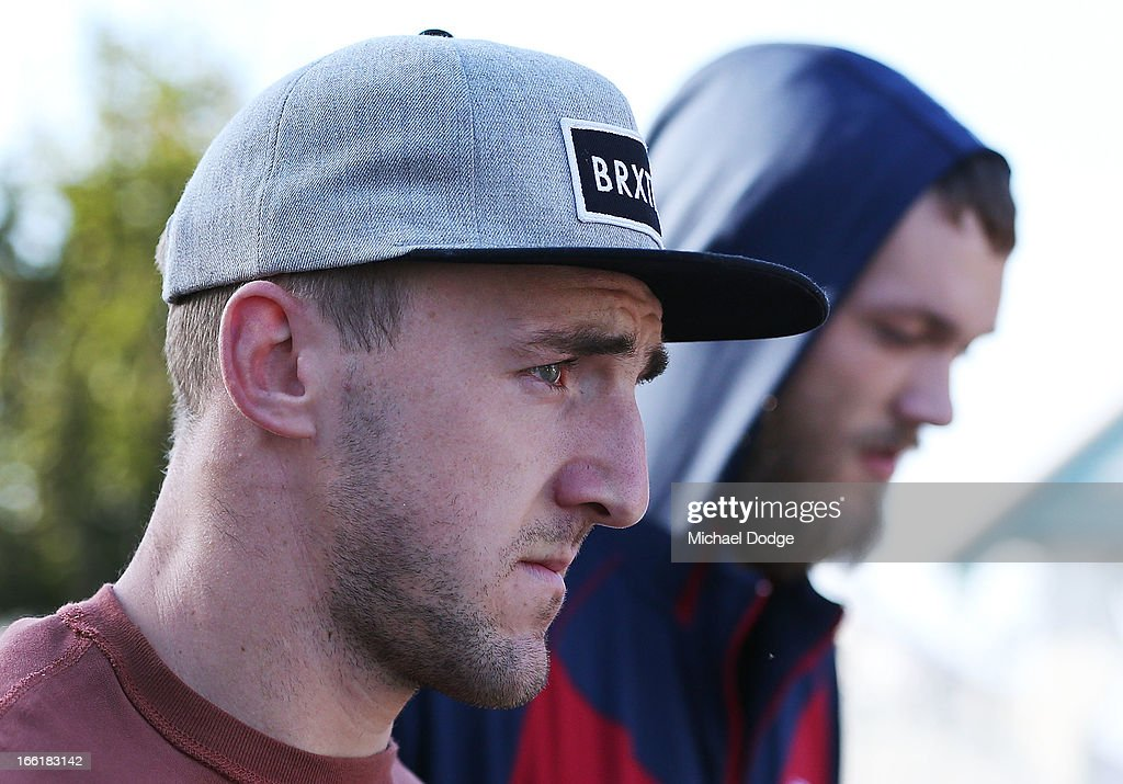Lynden Dunn (L) and Max Gawn of the Demons are seen walking during a camp for Melbourne Demons AFL players and coaching staff at Sorrento on April 10, 2013 in Melbourne, Australia.