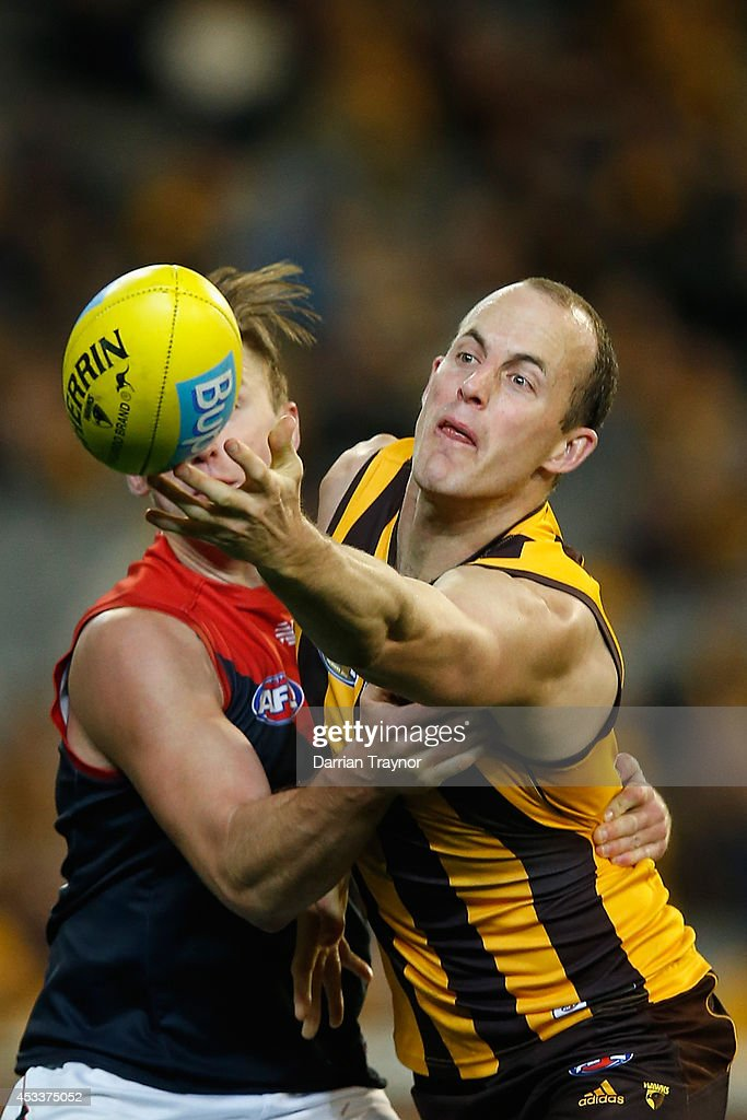 Lynden Dunn of the Demons and David Hale of the Hawks compete during the round 20 AFL match between the Hawthorn Hawks and the Melbourne Demons at Melbourne Cricket Ground on August 9, 2014 in Melbourne, Australia.