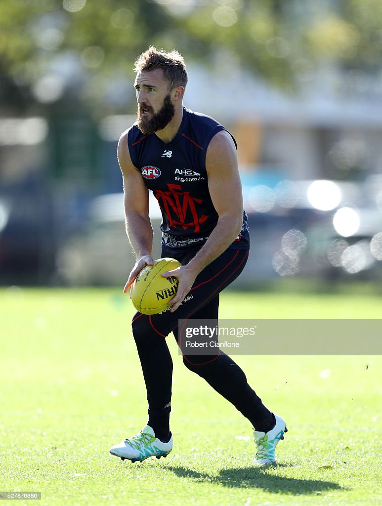 Lynden Dunn of the Demons controls the ball during a Melbourne Demons AFL training session at Goschs Paddock on May 4, 2016 in Melbourne, Australia.