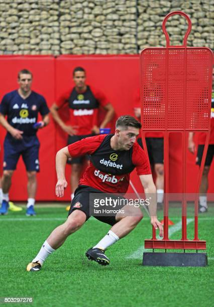 Lynden Gooch of Sunderland AFC takes part in the first day of preseason training at The Academy of Light on June 29 2017 in Sunderland England