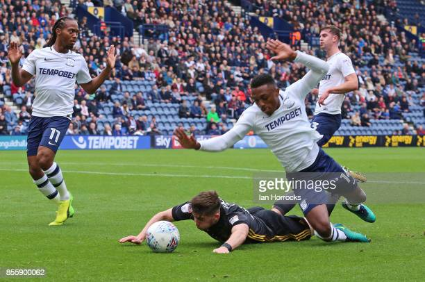 Lynden Gooch of Sunderland goes down under the challenge of Darnell Fisher of Preston during the Sky Bet Championship match between Preston North End...