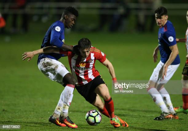 Lynden Gooch of Sunderland tries to break through the United defence during the Premier League 2 match between Sunderland U23 and Manchester United...