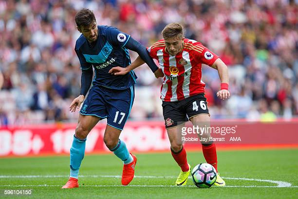 Lynden Gooch of Sunderland under pressure from Antonio Barragan of Middlesbrough during the Premier League match between Sunderland and Middlesbrough...
