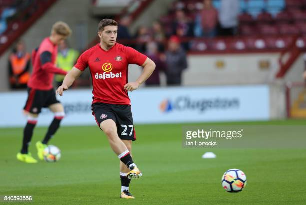 Lynden Gooch of Sunderland warming up before the Checkertrade Trophy group stage match at Glanford Park on August 29 2017 in Scunthorpe England