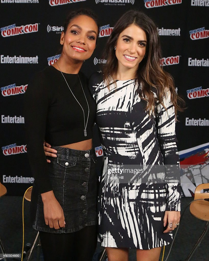 Lyndie Greenwood and Nikki Reed visit the SiriusXM Studios during New York Comic-Con at The Jacob K. Javits Convention Center on October 11, 2015 in New York City.
