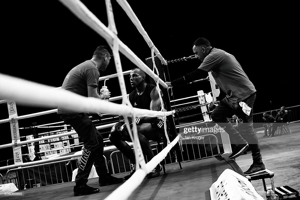 Lyndon Arthur listens to instructions during day one of the Boxing Elite National Championships at Echo Arena on April 29, 2016 in Liverpool, England.